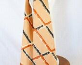 Clearance 1940s Vintage Salmon Color Black & Orange Geometric Necktie Burkhardt's Cincinnati Hand Screened