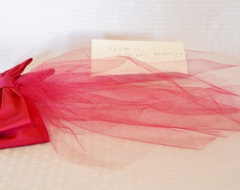 Clearance 1960s Vintage Junior Bridesmaid Fuchsia Head Piece from 1964 Wedding ID'd