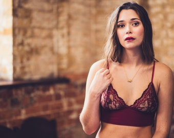 Emily Ruby Lace & Bamboo Bra and Brief Set, sexy organic ethical lingerie, sheer, see through, christmas gift for her, lace, erotic, bridal