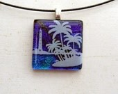 Lighthouse Palm Tree Necklace | Beach Theme | Fused Glass Necklace Pendant | Blue Purple Ocean | Surfer Surf | Water Theme Art | Nature