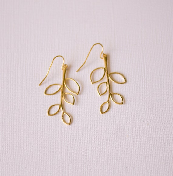 Gold Branch earrings, sophisticated, metal,  nature-inspired, forest, leaf, woodland, womens, girls, jewelry, handmade in Santa Cruz