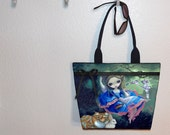 Jasmine Becket-Griffith Alice Cheshire Cat & White Rabbit tote bag, book tote, large purse, canvas tote, shoulder bag