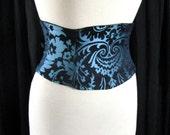 Corset Belt Blue Tapestry Waist Cincher Made to Order