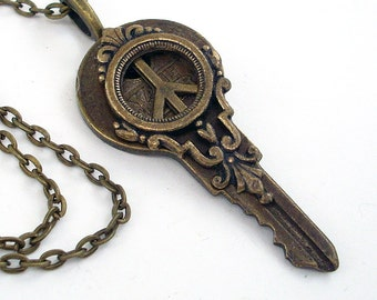 Key to World Peace - Recycled Key Necklace Handmade Jewelry - Peace Symbol - Eco Friendly