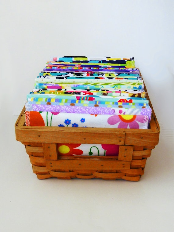 Cloth Wipes - 30 Mixed Modern, Girls or Neutral Wipes - Cloth Diaper Wipes - 30-40 Double Layer Flannel Wipes - Family Cloth - Medium