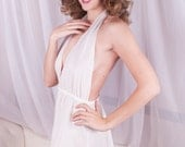 Sexy White Nightie - Halter V-Neck Low-Cut - Bridal - Soft Sheer Cotton with One Little Daisy - M