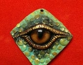 Teal and Gold Dragon Eye Pendant
