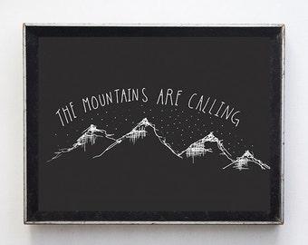 "Fine Art Print // illustration // 8x10 print // wall art // wall decor // home decor // ""the mountains are calling"" // illustration"
