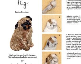 PDF en español: PUG Tutorial de bordado con cuentas del prendedor o pendiente de perro (Exclusivo para uso personal)