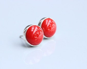 Red Coral studs - Stud earrings - Red earrings - Ear studs - Round studs - Small studs - Red coral earrings - Gift for her