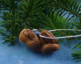 Xmas Sea Otter and Present Ornament , Handmade Christmas Decoration