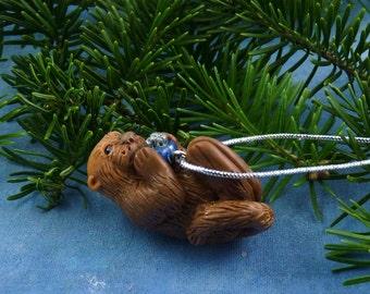Xmas Sea Otter and Present Ornament , Handmade Christmas Decoration