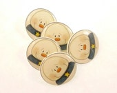"""5 Snowman  buttons.  Snowman SHANK sewing buttons. 3/4"""" or 20 mm round."""