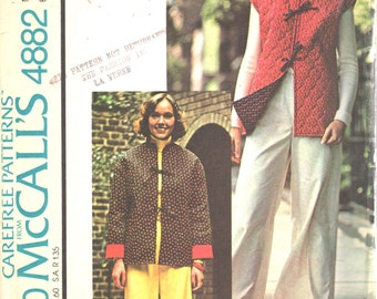 McCalls 4882 1970s Misses Easy Wide Leg Pants and Reversible Jacket Pattern Womens Vintage Sewing Pattern Size 12 Bust  34