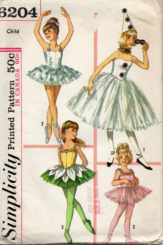 Simplicity 6204 1960s Girls Ballet Ballerina Costume By