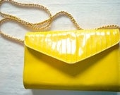 Yellow Patent, Handbag, Chain Strap, Shoulder Bag, Flap Bag