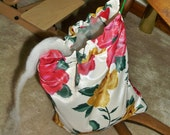 Roving fiber bag, spinning accessory for spinning wheel or drop spindle spinners, roses screen print silk fabric, lingerie bag