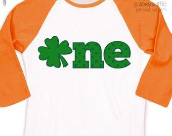 First birthday shirt boy or girl ST. PATRICKS clover 1st birthday raglan Tshirt