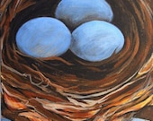 nest painting, Nest with Three Blue Eggs, original acrylic painting on canvas