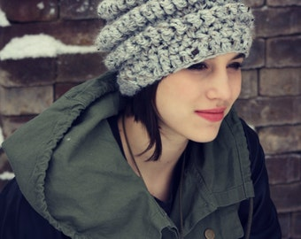 Thick and Chunky Teen Hat, Girls Gray Crochet Hat, Girls Crochet Hat, One Size Fits Most Girls 10 years to Teen