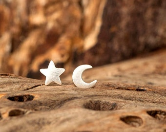 Extra Tiny Moon and Star Earring Star Stud Sterling Silver Solid Gold Crescent Moon Star minimal earrings