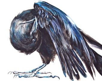 Watercolor Painting, Crow Painting, Original, 3'x4'8""