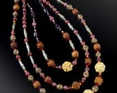 Organic stone jewelry * analogous color theory * collector jewelry * bohemian statement necklace * jade garnet wood