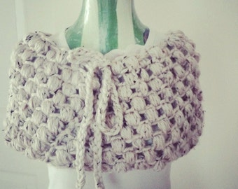 Chunky Winter White Cowl Super Sized