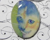Cat art pendant / calico kitten necklace / kitty necklace / wearable cat art / blue chat / azul gato / N213