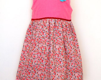 EDELWEISS girls pink and floral corduroy handmade jumper dress with flowers brooch