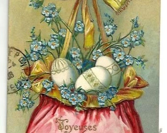 1908- PURSE, EGGS, Forget me Not ,Golden BOW- Embossed Colorful Postcard - French written with stamp - Easter 's Greetings - Good Condition