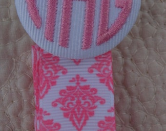 Pacifier Clip Leash, Boutique Custom  Monogrammed Personalized Damask