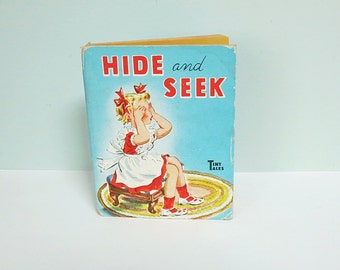 1950 Tiny Tales Children's Book, Hide and Seek, Whitman Publishing, Cute As Can Be!