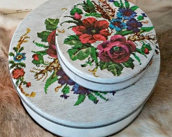 Vintage Floral Tin Container Set