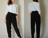Blousy Jumpsuit Vintage 80s Black and White Color Block Draped Indie Boho Minimalist Jumpsuit  (s m)