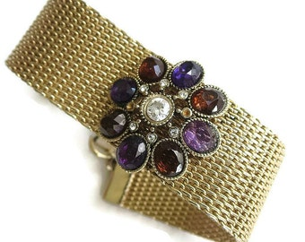Vintage Red and Purple Rhinestones Flower Mesh Bracelet