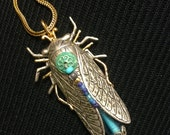 Insect Necklace, Cicada Pendant Necklace, Insect Pendant on Chain