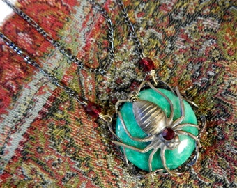 Steampunk Jeweled Spider Necklace with Frozen Time Accent