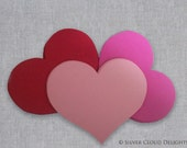 Paper Hearts in Pink, Red and Light Pink for Valentine's Day - Pink and Red Wedding Hearts - Valentine Hearts - Valentine's Day Decorations