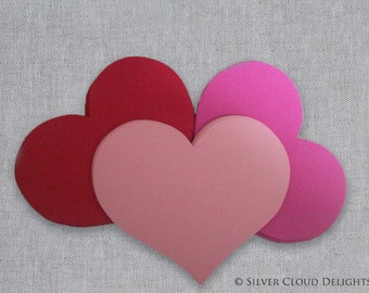 Pink Paper Hearts - Pink and Red Wedding Hearts - Valentine Hearts - Valentine's Day Decorations - Pink, Red, Light Pink Heart Die Cuts