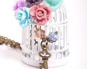 Faith II Birdcage Necklace with Resin Flowers, Swarovski Crystals and Vintage Accents