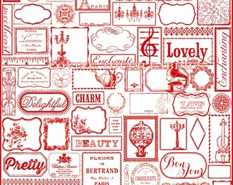 "Riley Blake Victorian Vintage Items French English Words Cotton Fabric 1/2 Yd 18"" X 44"" Red"