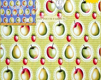 "Michael Miller Fruit Apples Pears Strawberries Kitchen  Cotton Fabric 1/2 Yard 18"" x 44"" (Make a Selection)"