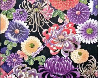 "2004 Kona Bay Asian Large Mixed Flowers #Yuri-04 Cotton Fabric 1/2 Yd 18"" x 44"""