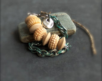 Cream Bone Wood Verdigris Patina Chain Beadwork Bracelet Sterling Silver - Rustic Chunky Handmade Boho Jewelry