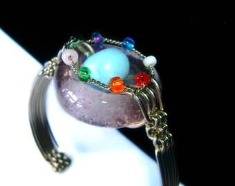 7 Chakras Wire Wrapped Bohemian Charm Stacking Bracelet Yoga Chunky Bead Cuff
