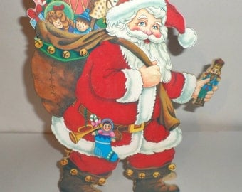 Vintage Musical Santa - Musical Moving Santa - Jingle Bells Musical - Wooden Musical Santa - Christmas Musical Santa - Christmas Decor