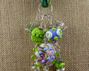 BirdDesigns Silk Ribbon and Lampwork Necklace - green and periwinkle - ooak - J527