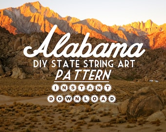 "Alabama - DIY State String Art Pattern - 7"" x 11"" - Hearts & Stars included"