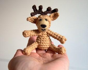 Christmas Amigurumi ornament Crochet deer reindeer red nose Rudolf amigurumi with felted wool face toy woodland animal nursery decoration